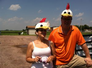 Two people with duck hats