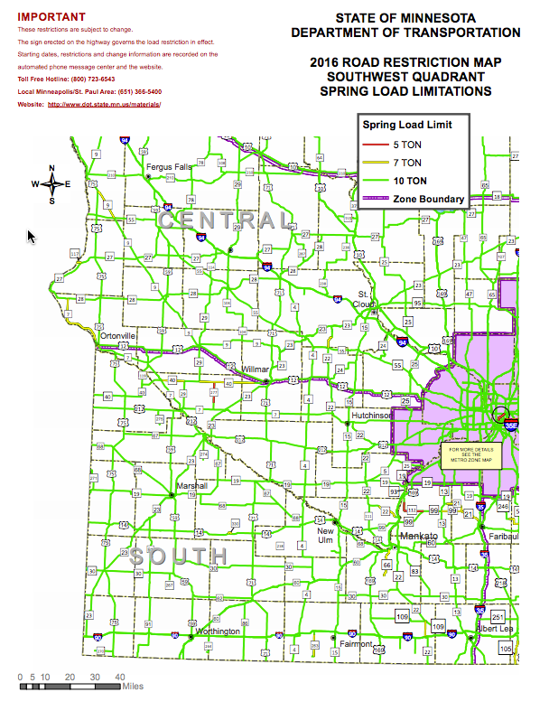 2016 Road Restriction Map for Minnesota