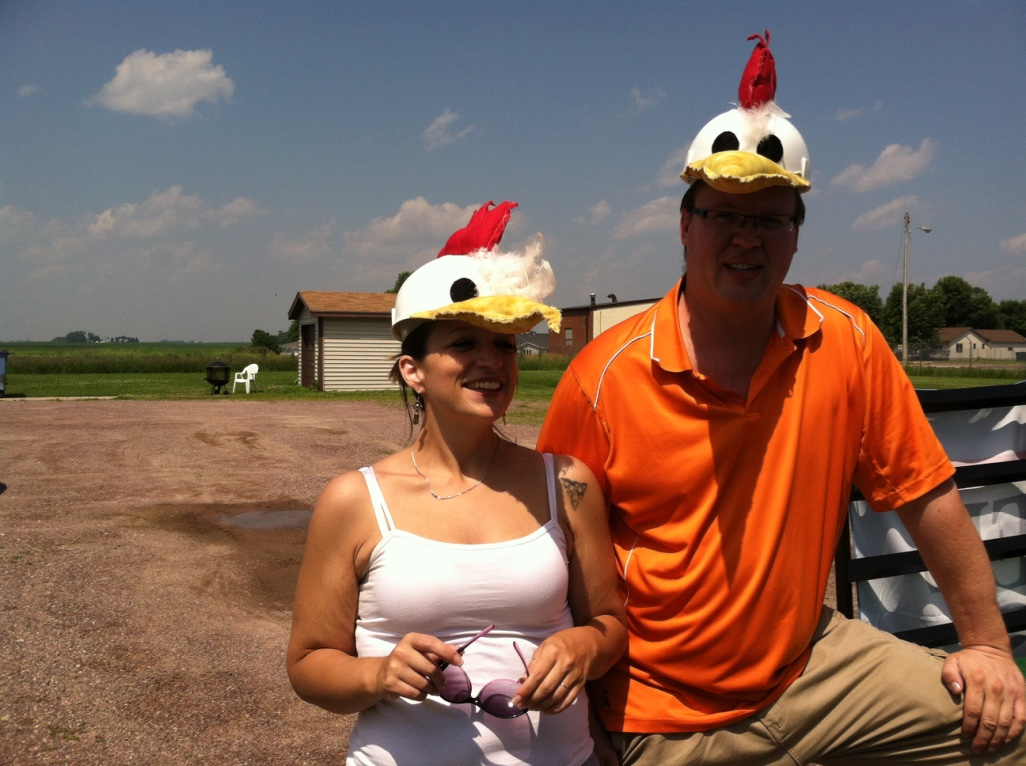As part of our community support we donate to Ducks Unlimited. Pat and Amy wearing duck hats.